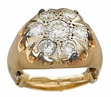A diamond and fourteen karat gold ring, , set with a round brilliant-cut diamond weighing approximately: 0.45 carat, within a circular-