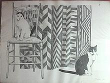 Linda Brenner (American, 20th century) two drawings of cats, circa 1986, Two pencil drawings of Vincent Smith-Durham's cats