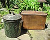 Two metal storage bins, early 20th century, Including a copper log bin marked V. Chad & Sons, Philadelphia and a painted tin cannister