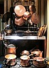 Collection of copper pots and pans, 19th-20th century, Approximately seventeen pieces including skillets, sauce pans, pots, colander, p
