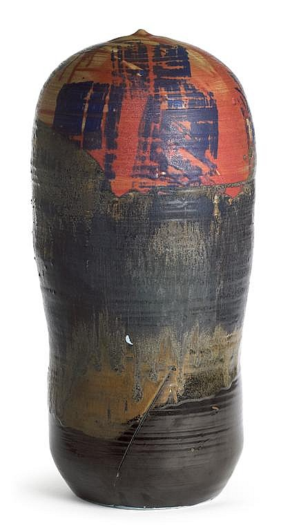 Toshiko Takaezu (American, 1922-2011) tall glazed porcelain Closed Form, clinton, nj, In indigo, raspberry, mottled grey/brown and matt