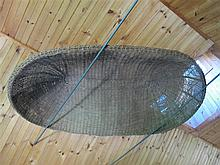 Large wicker boat-form basket, ladder and hay rake, ,