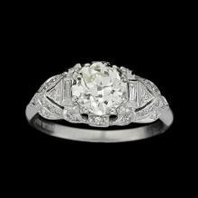 An Art Deco diamond and platinum ring