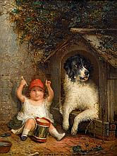 JOSEPH HENRY SHARP, (AMERICAN 1859-1953), YOUNG GIRLS WITH DOGS; A PAIR