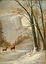 ALBERT BIERSTADT, (AMERICAN 1830-1902), DEER IN SNOW