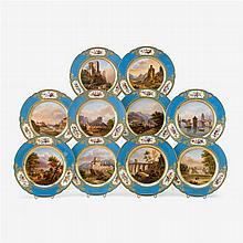 Ten Paris porcelain topographical plates, decorated by Rihouët, circa 1840-45