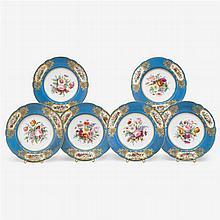 Six Paris porcelain soup bowls, mid 19th century