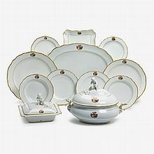 Meissen armorial porcelain part dinner service, late 19th century