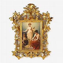 KPM painted porcelain plaque, The Fates, after Friedrich Paul Thumann (1834-1908)