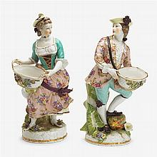 Pair of Meissen style porcelain figures of a gallant and companion, late 19th/early 20th century