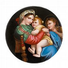 KPM hand-painted porcelain plaque, Madonna della Sedia, after Raphael