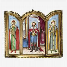 Fine Russian painted enamel icon triptych, late 19th/early 20th century