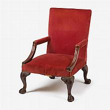 George II carved mahogany library arm chair, circa 1745