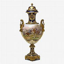 Monumental gilt bronze mounted Sèvres style porcelain urn, late 19th century