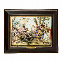 Rare Doccia-Ginori painted porcelain relief plaque, Allegory of Summer, after Massimiliano Soldani (1656-1740), 19th century
