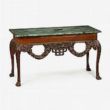 Pair of Irish George II style carved mahogany marble top console tables, one probably early 19th century, the other later