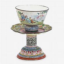 Canton enamel 'European subject' bowl on stand, 18th century