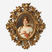German hand-painted porcelain plaque, Queen Louise of Prussia, after Gustav Richter (German, 1823-1884)