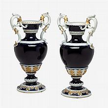 Pair of Meissen cobalt ground porcelain urns, late 19th/early 20th century