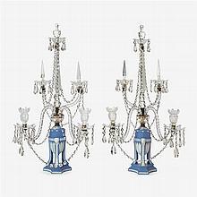 Fine pair of George III Wedgwood jasper and cut glass candelabra, late 18th century