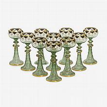 Ten fine Bohemian enameled hock glasses, Moser, circa 1880