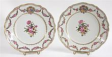 Pair of Chinese export porcelain plates, 18th century, with later decoration