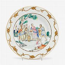 Rare Chinese export porcelain plate, Rebecca at the well, mid 18th century