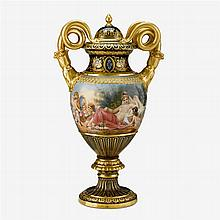 Fine Vienna style hand-painted and gilt decorated serpent handled urn, 19th century