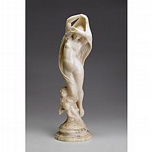 Italian alabaster figural group, Venus and Cupid, late 19th century