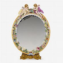 Meissen porcelain table mirror, 19th century