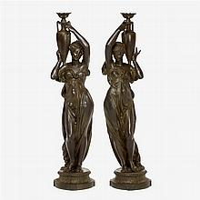 Large pair of Continental cast iron figures, late 19th/early 20th century