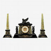 French Egyptian revival green onyx and black slate clock garniture, late 19th century