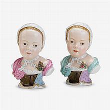 Two Meissen porcelain busts of Princess Marie Zepherine de Bourbon, after the model by J.J. Kaendler, circa 1880