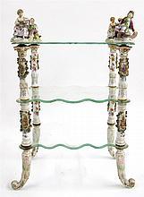 Meissen style porcelain and glass étagère, Carl Thieme, Dresden, late 19th century
