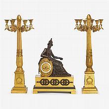 Fine Empire gilt and patinated bronze clock garniture, Pierre-Philippe Thomire (1751-1843)