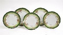 Five Russian porcelain plates, Kusnetsov porcelain factory, 19th century