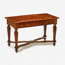 William and Mary style parquetry inlaid walnut center table, 19th century