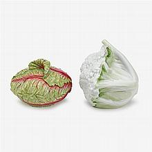 Fine Meissen porcelain lettuce form box and cover, 19th century