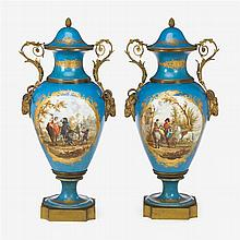 Large pair of Sèvres style porcelain and bronze twin handled urns, painted after Carel Van Falens (Flemish, 1683-1733), 19th century