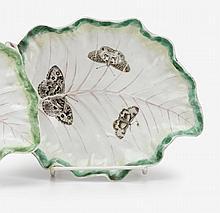 Worcester porcelain leaf form dish, circa 1758