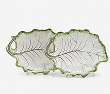 Pair of Worcester leaf form dishes, circa 1760