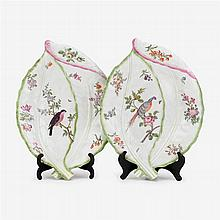 Two Worcester leaf dishes, circa 1760