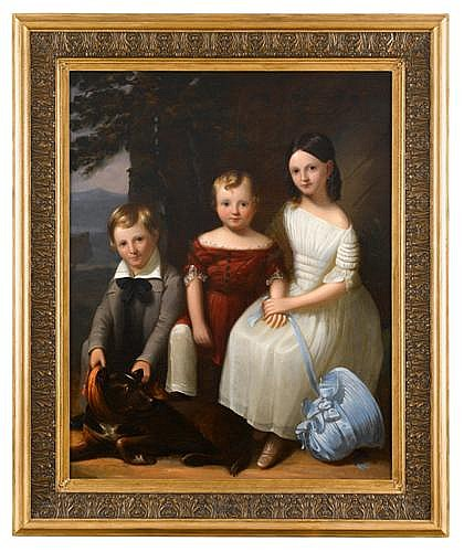 Robert Street (1796-1865), portrait of three children and a dog, Oil on canvas, framed.