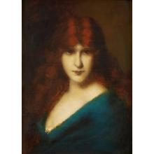 JEAN JACQUES HENNER, (FRENCH 1829-1905)AUBURN BEAUTY
