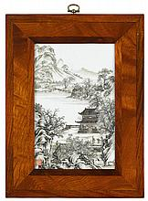 Chinese grisaille decorated porcelain plaque, jiaqing seal mark, The plaque depicts a riverside scene with figures in the foreground te