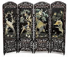 Fine Chinese embroidered and hardwood four panel floor screen, 19th century, Folding carved hardwood and glazed floor screen, surmounte