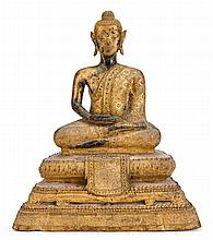 Thai Bronze Seated Buddha, early 19th century, An adorn Buddha seating in dhyanasana on a stylized stepped lotus seat supported by a lo