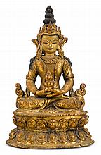 Sino-Tibetan gilt bronze figure of Tara, 19th century, The figure seated on double lotus base with hands in dhyana mudra holding an alm