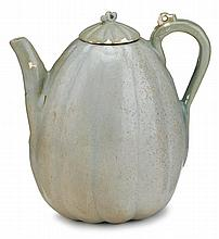 Korean celadon glazed stoneware melon form ewer, koryo dynasty, The vessel shaped in the form of a melon, bulging lobes to body free of
