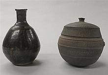 Korean brown glazed bottle vase together with a stoneware covered jar, , Including a pear form brown glazed pottery vase and a globular